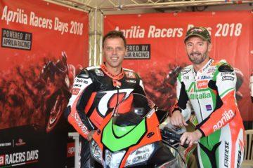 Max Biaggi e Loris Capirossi di nuovo insieme in pista con l'Aprilia RSV4