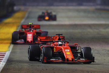 Gp di Singapore, storica doppietta Ferrari. Vettel primo, poi Leclerc e Verstappen